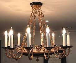 vintage french empire brass black tole chandelier 12 light no crystal 36 wide