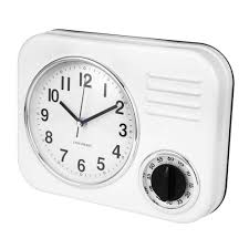 clotille retro kitchen wall clock timer white