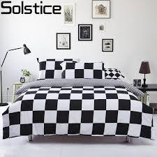 solstice classic black and white lattice home textile bedding set duvet cover bed sheets pillowcase 4pcs single full queen size simple elegant