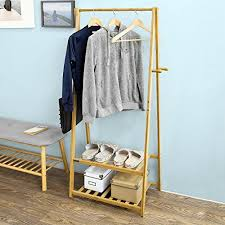 How To Make A Free Standing Coat Rack SoBuy Bamboo Clothes Rail Stand Rack with Two Storage Shelves Free 84