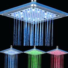 rain shower head with lights chrome finish contemporary rectangular 3 colors led shower head rain shower