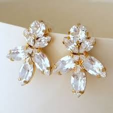 white clear diamond crystal stud earrings extra large chandelie