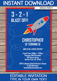 Space Party Invitation Space Rocket Party Invitations Template