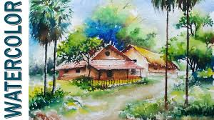 watercolor painting for beginners village landscape on hand made paper