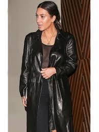 kim karadashian appealing leather coat