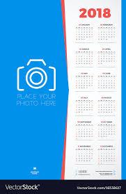 Calender Design Template Calendar Design Template For 2018 Year Week Vector Image