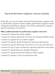 Top 8 performance engineer resume samples In this file, you can ref resume  materials for ...
