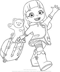Disegno Di Ruby Arcobaleno Che Viaggia Con Il Suo Orsacchiotto Choco