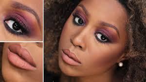 warm fall makeup tutorial marsala smokey eyes on dark skin you
