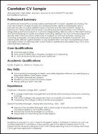 Example Of A Cv Resume Caretaker Sample Cv Resume Builder Download