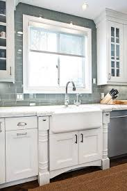 Glass subway tile kitchen White Glass Grey Glass Subway Tile Kitchen Backsplashwith Farmhouse Sink But Change The Cabinets To Grey Or Blue The Spruce Ice Gray Glass Subway Tile Kitchen Dining Pinterest Kitchen