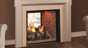 indoor outdoor see through wood burning fireplace