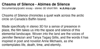documentary chasms of silence abimes de silence documentary poetic essay stereo 3d short film