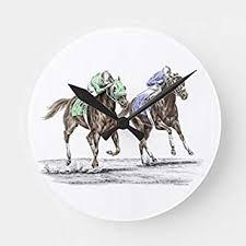 moonluna thoroughbred horses racing round wall art clock decorative wooden quartz silent clock 12 inches home