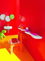 top 17 colorful kids bathroom design ideas cute red painted wall colorful kids bathroom with worm shaped bathroom mirror and orange chair