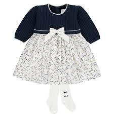 Emile Et Rose Size Chart Emile Et Rose Girls Nelly Navy Knit Top Dress And Tights
