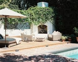 wood patio with pool. Outdoors:Pool Decor With Brick Patio And Wooden Seat Plus Outdoor Fireplace  Idea Wood Patio With Pool A