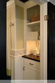 built in linen closet plans bathroom remodel original linen closet replaced with lower cabinet with open