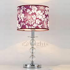 romantic purple table lamp flower pattern crystal