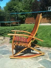 rocking chair made out of wine barrel