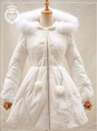 sweet white winter down cotton wadded coat with rac hood