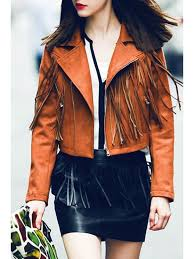 lapel fringed suede jacket brown s