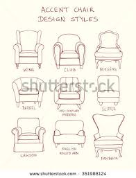 chair design drawing. Vector Visual Guide Of Accent Chair Design Styles. Hand Drawn Set Made In Linear Drawing R