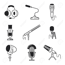 different microphones types vector icons journalist microphone different microphones types vector icons journalist microphone interview music studio web broadcasting