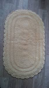 100 cotton reversible crocheted edge oval bath rug