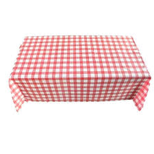 gingham plastic temporary disposable check table cover cloth outdoor picnic red tablecloth round