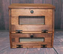 wood bread box wooden rustic vegetable potato bin storage old
