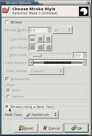 The usual method, which i'm sure worked before, is to use a path then stroke it. Gimp Borders On Selections