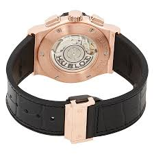 hublot classic fusion silver dial black leather band 18 carat rose gold case automatic men s watch