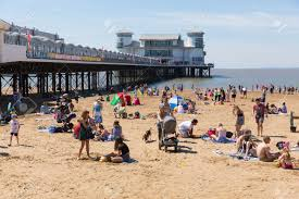 Summer Weston-super-Mare Pier And Beach Somerset With Tourists And ...