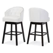 tufted swivel bar stools. Perfect Bar Baxton Studio Avril Modern White Faux Leather Tufted Swivel Barstool With  Nail Heads Trim  Set Of 2 U2013 HipBedscom In Bar Stools W