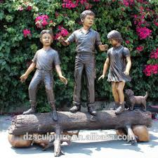 children garden statues. Bronze Outdoor Children Garden Statues 3 Boys And Girls With Dog E