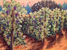 pinot vines in summer haze acrylic