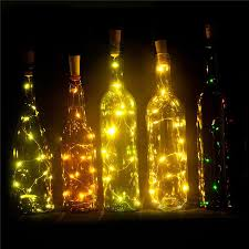 whole wine bottle lights battery powered led cork shaped 15led 75cm copper wire starry string lights for bottle diy party decor color changing led