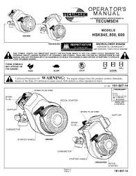 HSK600 TECUMSEH Snow Blower Engine Manual