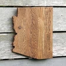 arizona state shape wood cutout sign wall art with star or heart repurposed oak flooring