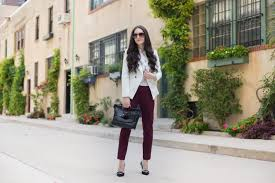 blouse whbm dotted victorian blouse jacket whbm trophy jacket in white pants whbm comfort stretch slim ankle in burdy purse foley corinna
