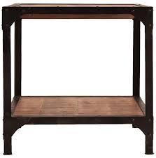 Table d'appoint carrée industriel fer noir et bois de mangue massif ...