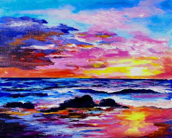 learn to paint a sunset and ocean full acrylic lesson coloroftheyearart