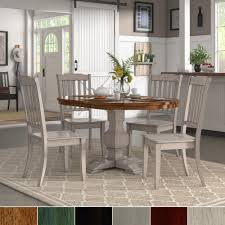 Eleanor Antique White Extending Oval Wood Table Slat Back 5-piece Dining  Set by iNSPIRE Q Classic (Oak), Brown, Size 5-Piece Sets