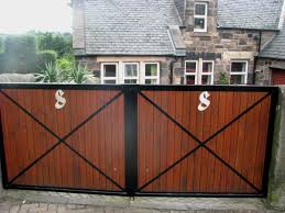 extraordinary wooden driveway gate for your outdoor home design ideas wonderful iron and brown wooden