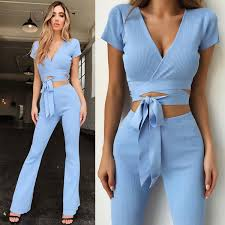 Pants Shirt 2019 Summer Set Women Clothing Sets Crop Top Blouse Short Sleeve Shirt Pants Leggings Trouser Outfit High Waist Pant Sets From Amybabyclothes 20 21