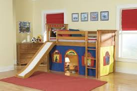 Loft Bunk Bed With Slide And Tent For Kids  Decofurnish Intended For Kids Bunk  Bed