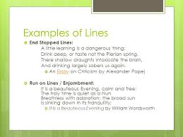 poetic foundations use graphic organizers ppt  examples of lines  end stopped lines a little learning is a dangerous thing