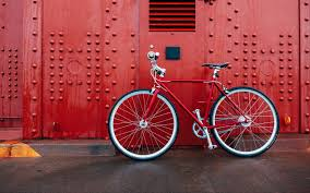bicycle, red, wall 4k ultra hd ...