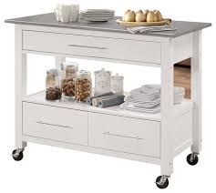 glencrest kitchen cart stainless steel and white